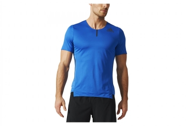 maillot manches courtes adidas running adizero bleu xs