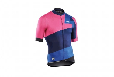 maillot manches courtes northwave 2017 extreme 2 rose bleu m