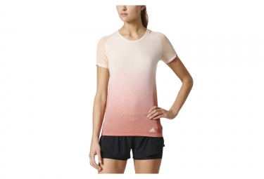 Maillot maillot manches courtes femme adidas running primeknit wool dip dye beige rose s