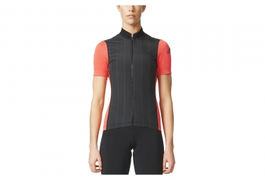 maillot manches courtes femme adidas cycling supernova reflectivity noir rouge s