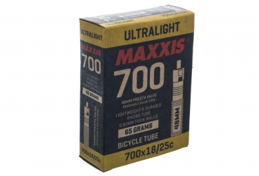 maxxis chambre a air ultralight 700 x 18 25mm valve presta 48mm