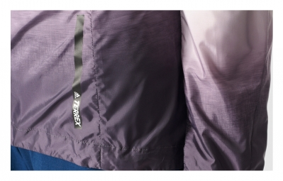 veste coupe vent impermeable femme adidas running terrex agravic blanc violet s