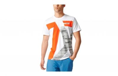 Maillot manches courtes adidas running terrex logo blanc orange l