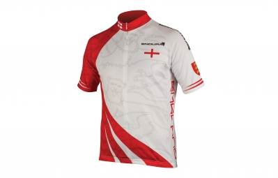 Endura maillot manches courtes coolmax angleterre blanc rouge m