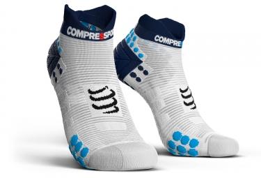 chaussettes compressport proracing v3 0 run smart basses blanc bleu 45 47