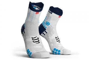 chaussettes compressport proracing v3 0 run smart haute blanc bleu 35 38