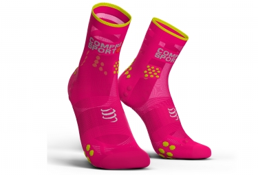 chaussettes compressport proracing v3 0 run ultralight haute rose fluo 39 41