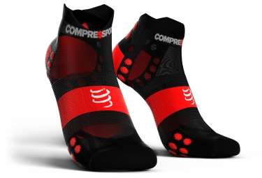 Chaussettes compressport pro racing v3 0 run ultralight basses noir rouge 42 44