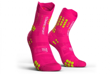 chaussettes compressport v3 0 trail smart haute rose fluo 42 44