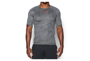 sous maillot de compression manches courtes under armour heatgear armour printed gris m