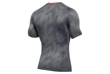 sous maillot de compression manches courtes under armour heatgear armour printed gri