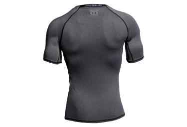sous maillot de compression manches courtes under armour heatgear armour gris l