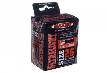 maxxis chambre a air ultra light 26 x 1 9 2 1 valve schrader