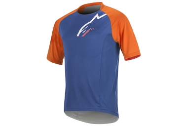 maillot manches courtes alpinestars trailstar bleu orange l