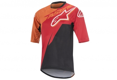 maillot manches courtes alpinestars sight contender rouge orange xl