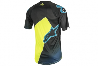 maillot manches courtes alpinestars vector jaune bleu l