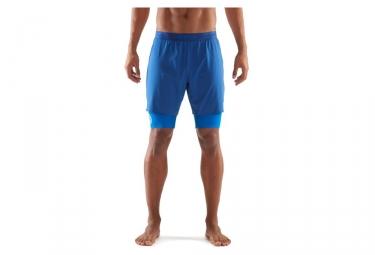 Short 2 en 1 skins dnamic bleu l