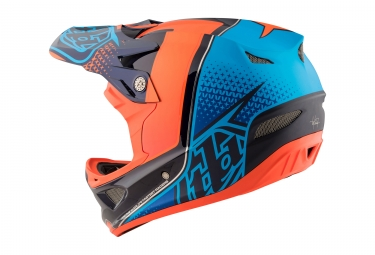 Casque Intégral Troy Lee Designs D3 Carbon Starburst Mips Orange Bleu 2017