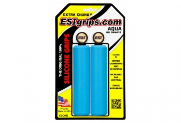 Paire de grips silicone esi extra chunky 34mm bleu
