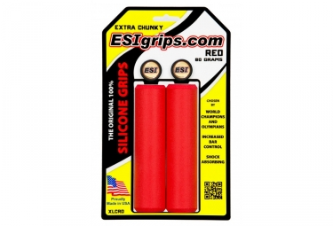 Pair of Silicone Grips ESI Extra Chunky 34mm Red