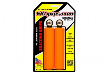 Paire de Grips Silicone ESI Extra Chunky 34mm Orange