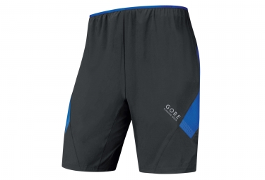short 2 en 1 gore running wear air noir bleu s