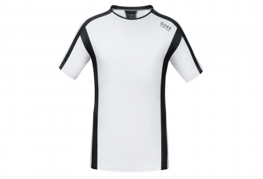 Maillot manches courtes gore running wear air blanc noir xl