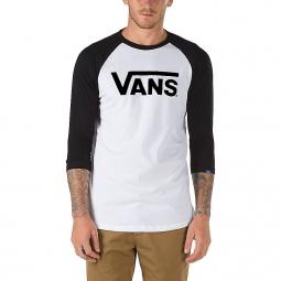 T-Shirt Manches 3/4 Vans Classic Blanc Noir