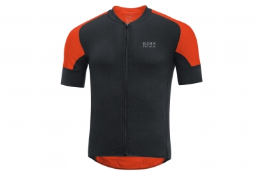 maillot manches courtes gore bike wear oxygen cc noir orange s