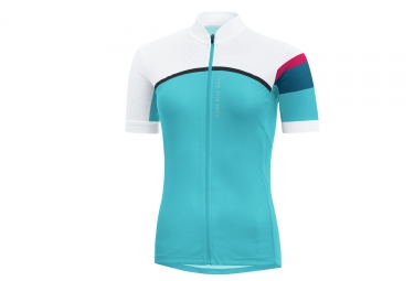 maillot manches courtes gore bike wear power lady cc bleu blanc l