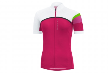 Maillot manches courtes gore bike wear power lady cc rose blanc s
