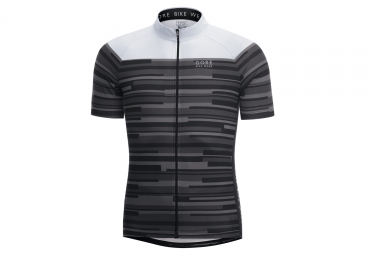 maillot manches courtes gore bike wear element stripes noir blanc xs