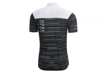 Maillot Manches Courtes Gore Bike Wear Element Stripes Noir Blanc