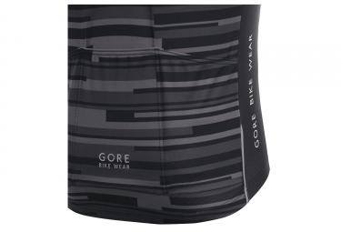 maillot manches courtes gore bike wear element stripes noir blanc xs