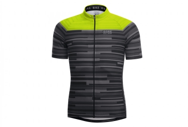 maillot manches courtes gore bike wear element stripes noir jaune xs