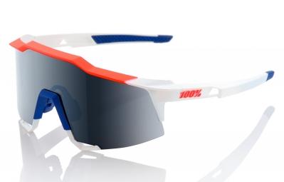 Lunettes 100% Speedcraft LL Bleu Blanc Rouge Ecran Gris Iridium