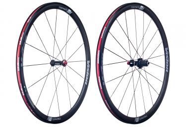paire de roues vision team 35 aluminium corps shimano sram noir rouge