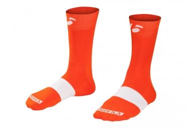 chaussettes bontrager race 12cm orange blanc 43 45