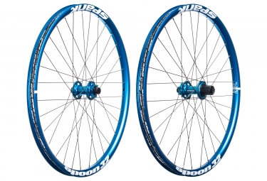 paire de roues spank spoon 32 27 5 axes 20x110 12x150mm shimano sram bleu