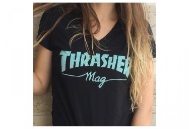 T-Shirt Manches Courtes Femme Thrasher Mag Logo Noir Bleu