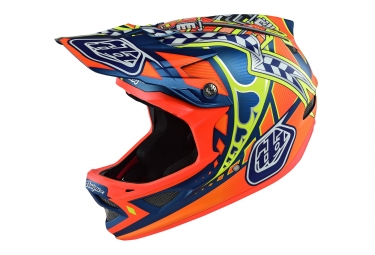 casque integral troy lee designs d3 composite longshot orange bleu 2017 xl 60 61 cm