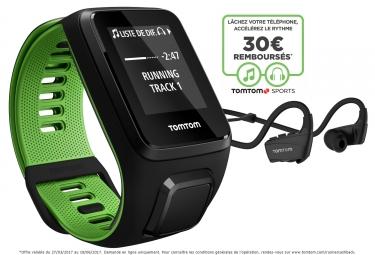Montre GPS TOMTOM RUNNER 3 MUSIC + CASQUE BLUETOOTH Bracelet Large Noir Vert