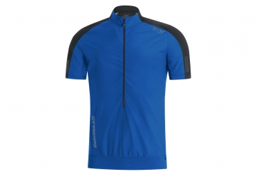 Maillot manches courtes gore running wear air windstopper bleu noir l