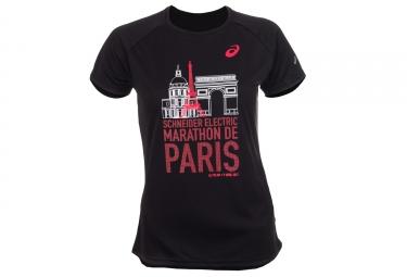 t shirt manches courtes femme asics schneider marathon de paris 2017 noir edition limitee xs