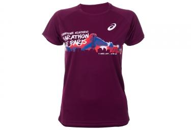T-Shirt Manches Courtes Femme ASICS Schneider Marathon de Paris 2017 Violet Edition limitée