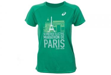 t shirt manches courtes femme asics schneider marathon de paris 2017 vert edition limitee xs