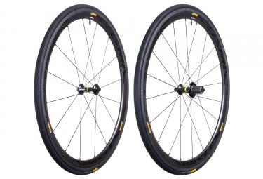mavic paire de roues cosmic carbone 40 boyaux yksion pro 23mm shimano sram