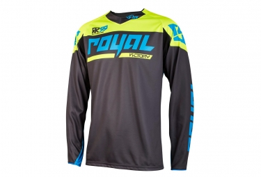 maillot manches longues royal victory race gris jaune m