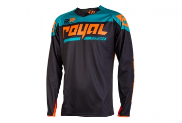 maillot manches longues royal victory race noir orange xl