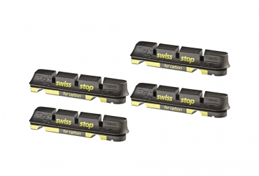 x4 cartouches de patins de freins swisstop flash pro black prince jantes carbone shi